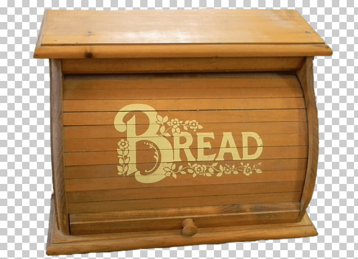 Decorated Bread Box, brown wooden bread box PNG clipart.