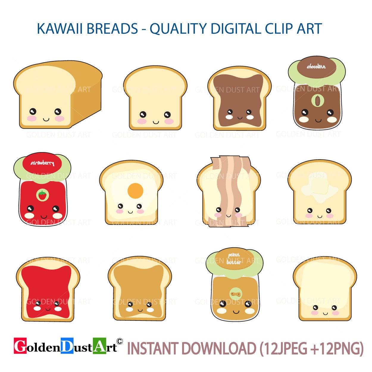 Kawaii Breads, Cute Bread, Kawaii Breakfast, Kawaii Clipart, Cute Kawaii  Clipart, Breads, Breakfast.