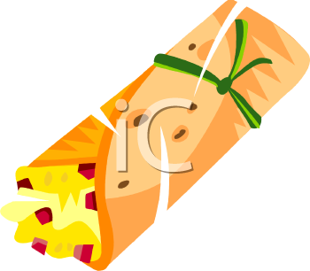 Cartoon Breakfast Burrito Clipart.