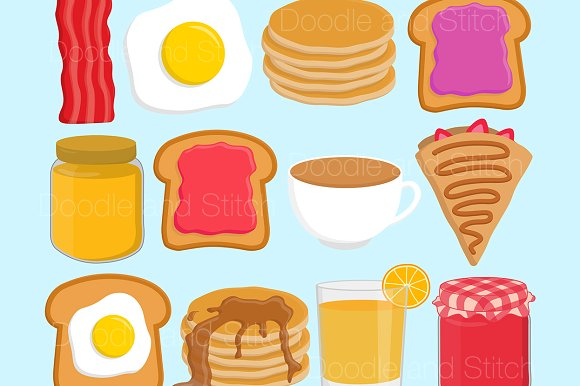 Breakfast Food Clipart Illustrations.