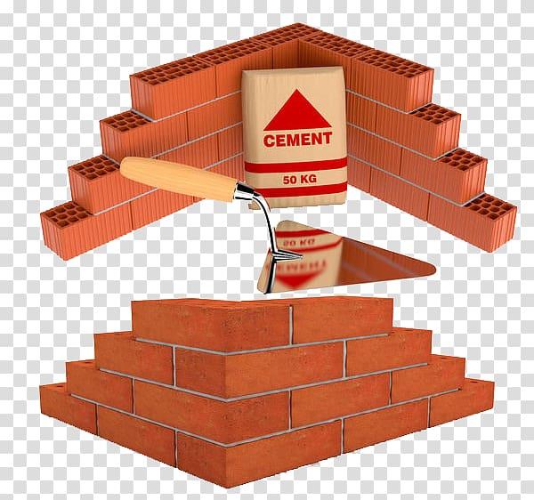 Foundation Brick , And built of bricks. transparent background PNG.