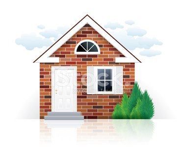 Small brick house Clipart Image.
