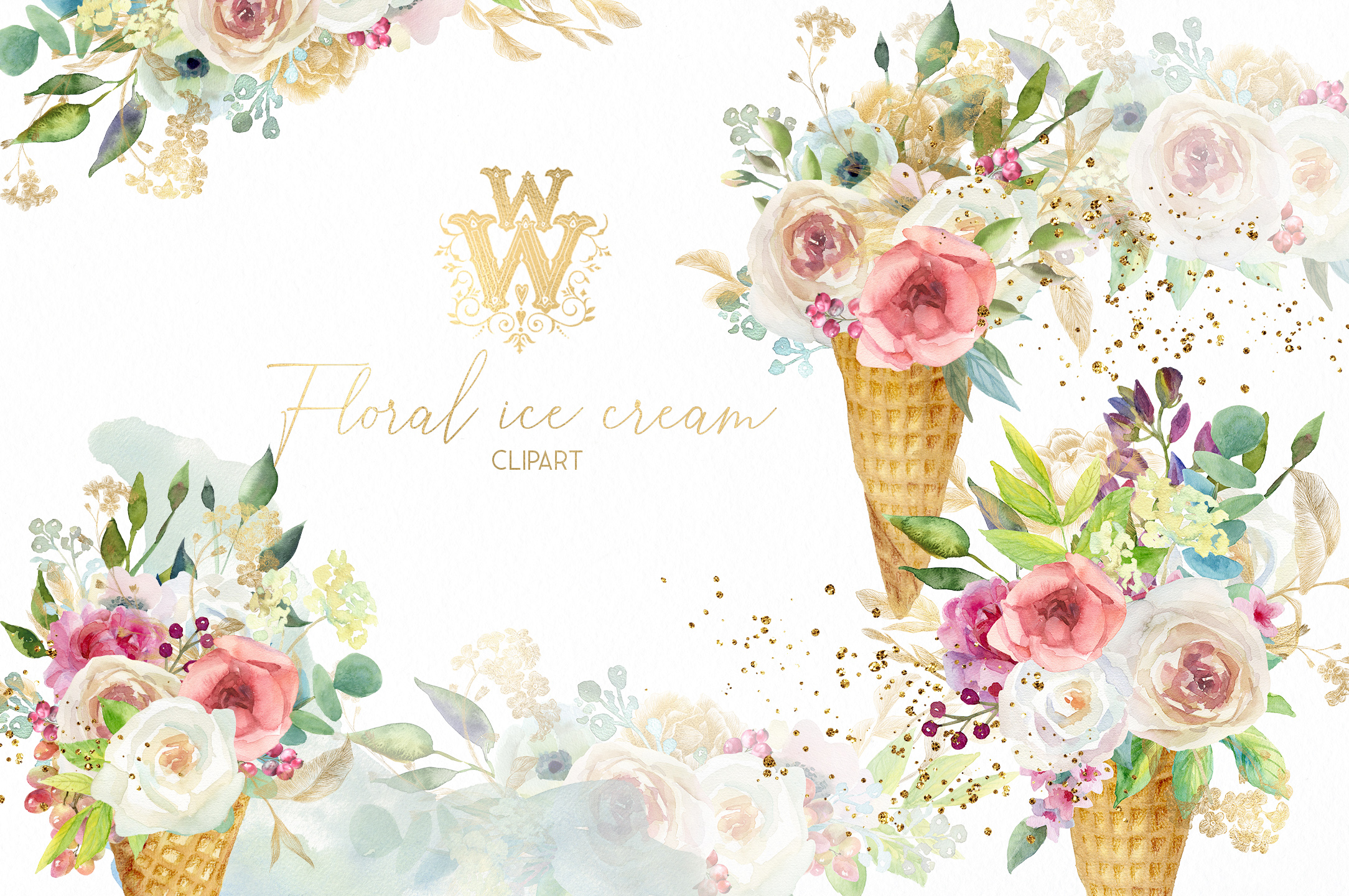 Watercolor floral Ice cream clip art, wedding clipart bridal.