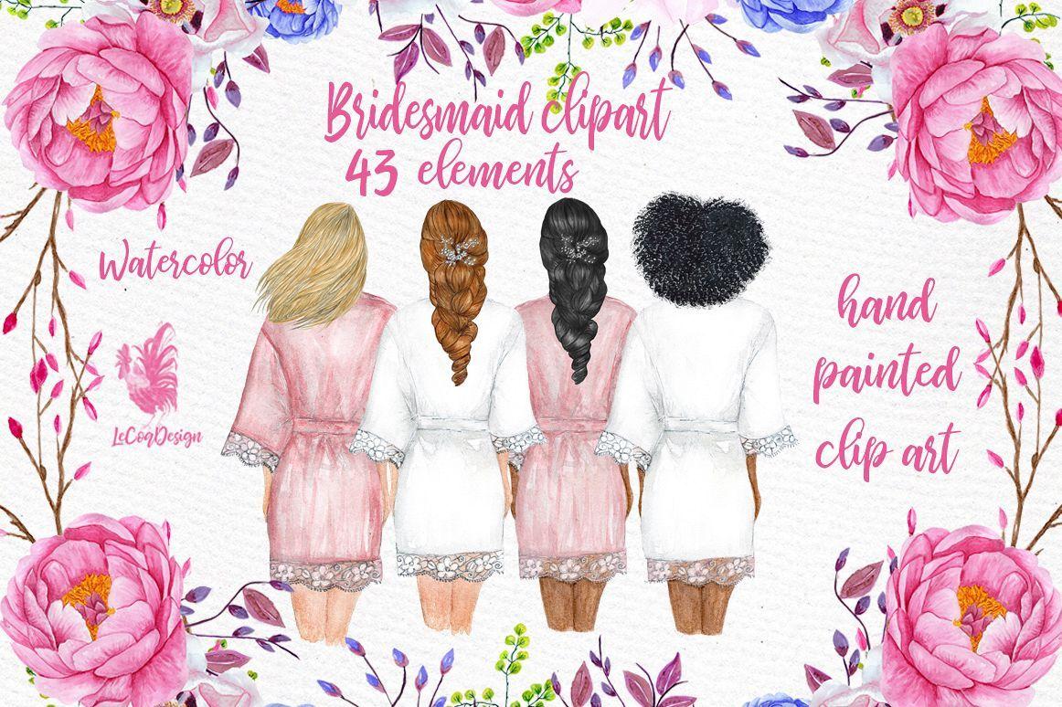 Bridesmaid Wedding Robes clipart, Bridal shower clipart.
