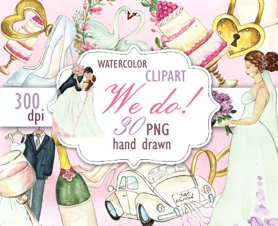Wedding Clipart, Bride Clipart, Bridal Shower Invitation.