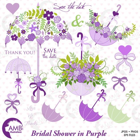 Bridal Shower clipart, Wedding clipart, Lavender Floral.