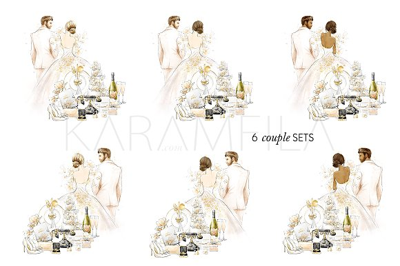Wedding Clipart Bride & Groom.