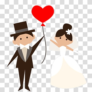Marriage Drawing , Married bride and groom transparent background.