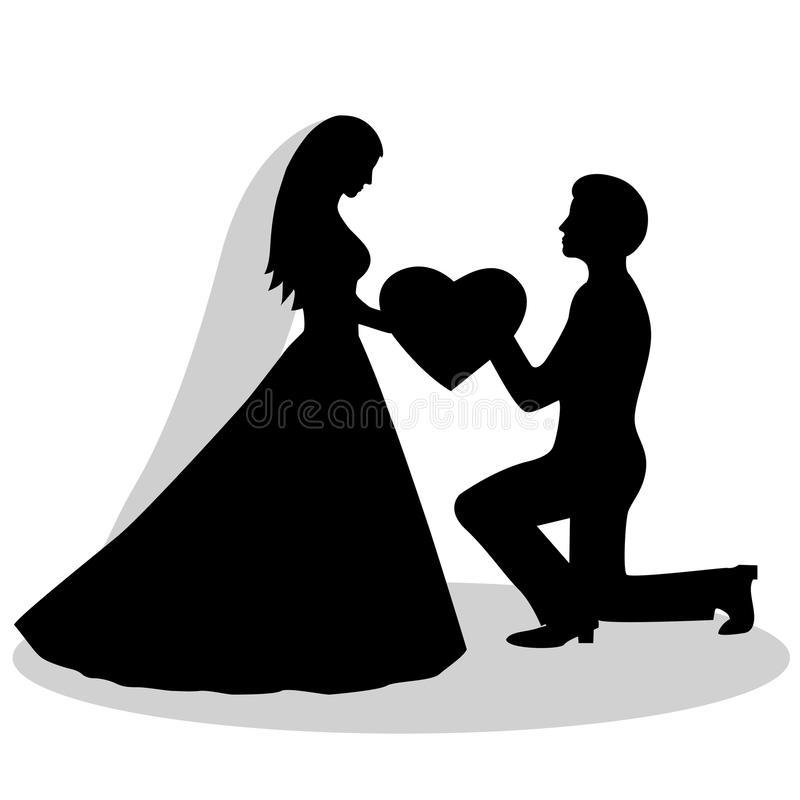 Bride Groom Silhouette Stock Illustrations.