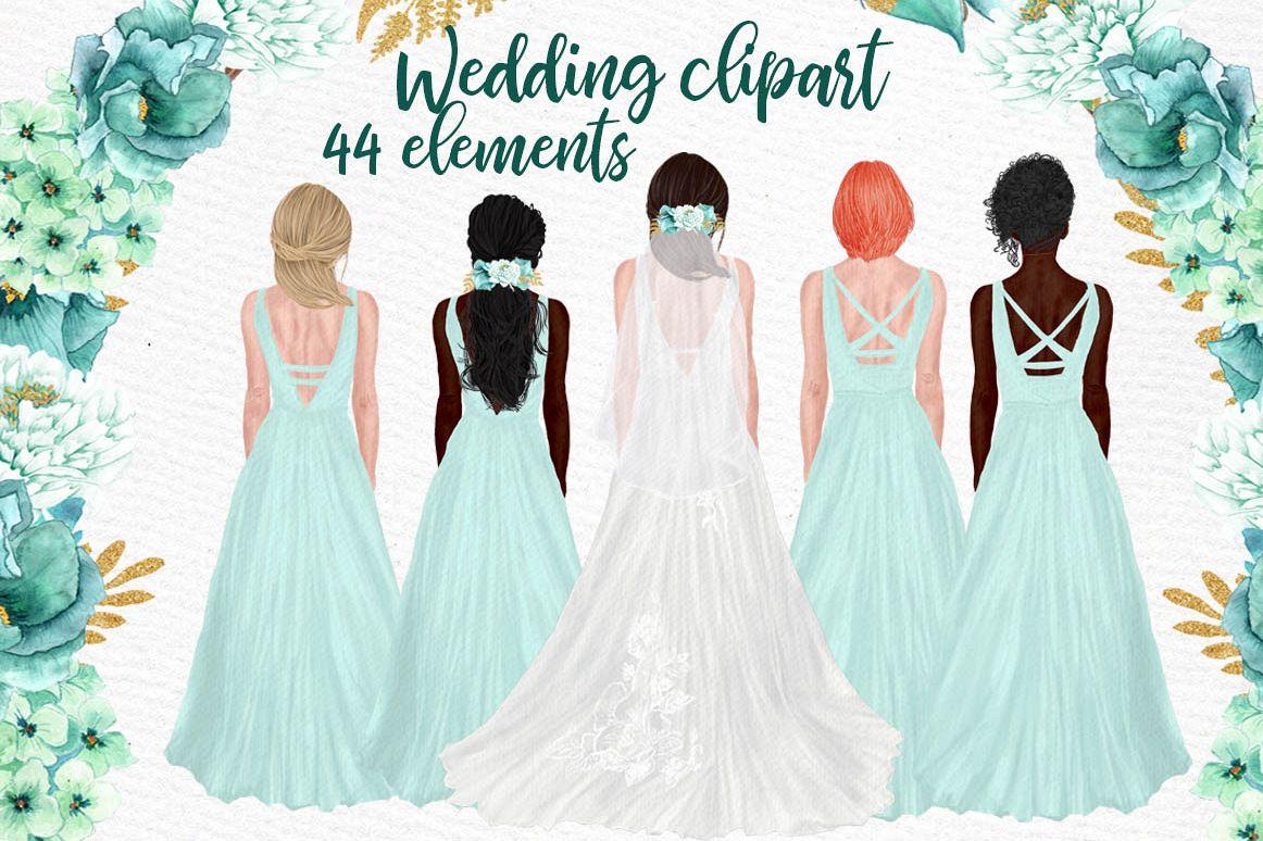 Wedding clipart Brides clipart Bridesmaid graphic Team Bride.