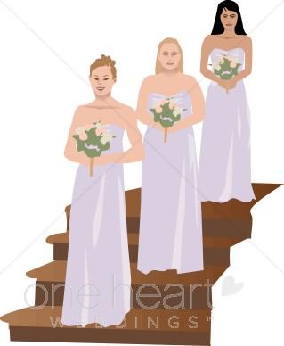 Bridesmaids Dressed in Lavender Clipart.