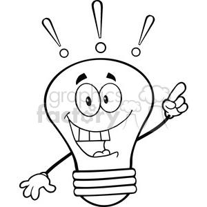 6123 Royalty Free Clip Art Light Bulb Cartoon Mascot Character With A  Bright Idea clipart. Royalty.
