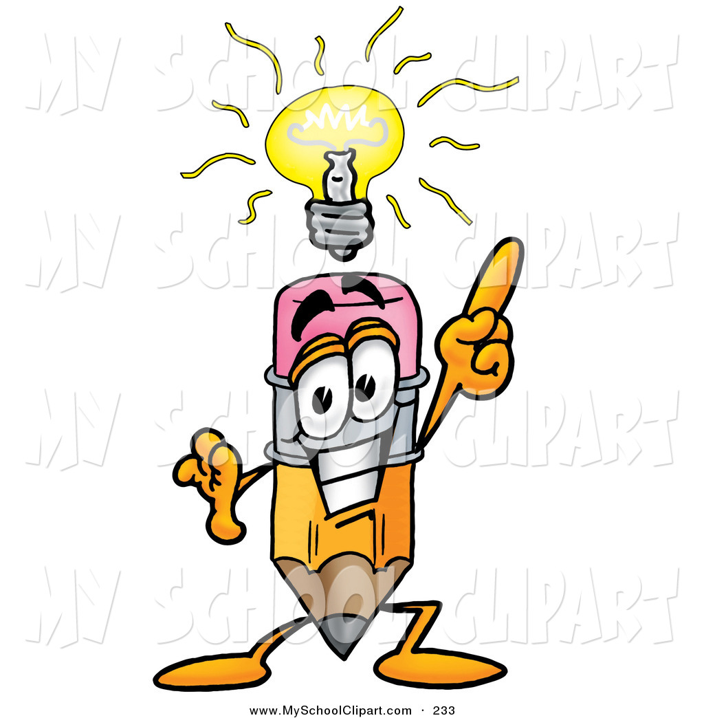 Clip Art of a Yellow Pencil Mascot Cartoon Character with a Bright.