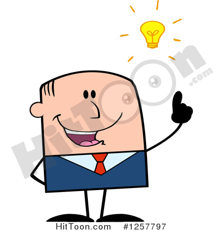 White Businessman Clipart #1257797: White Stick Businessman with a.