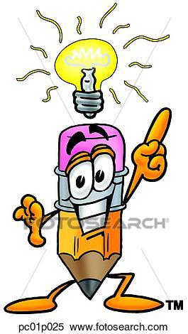 Pencil with bright idea Clipart.