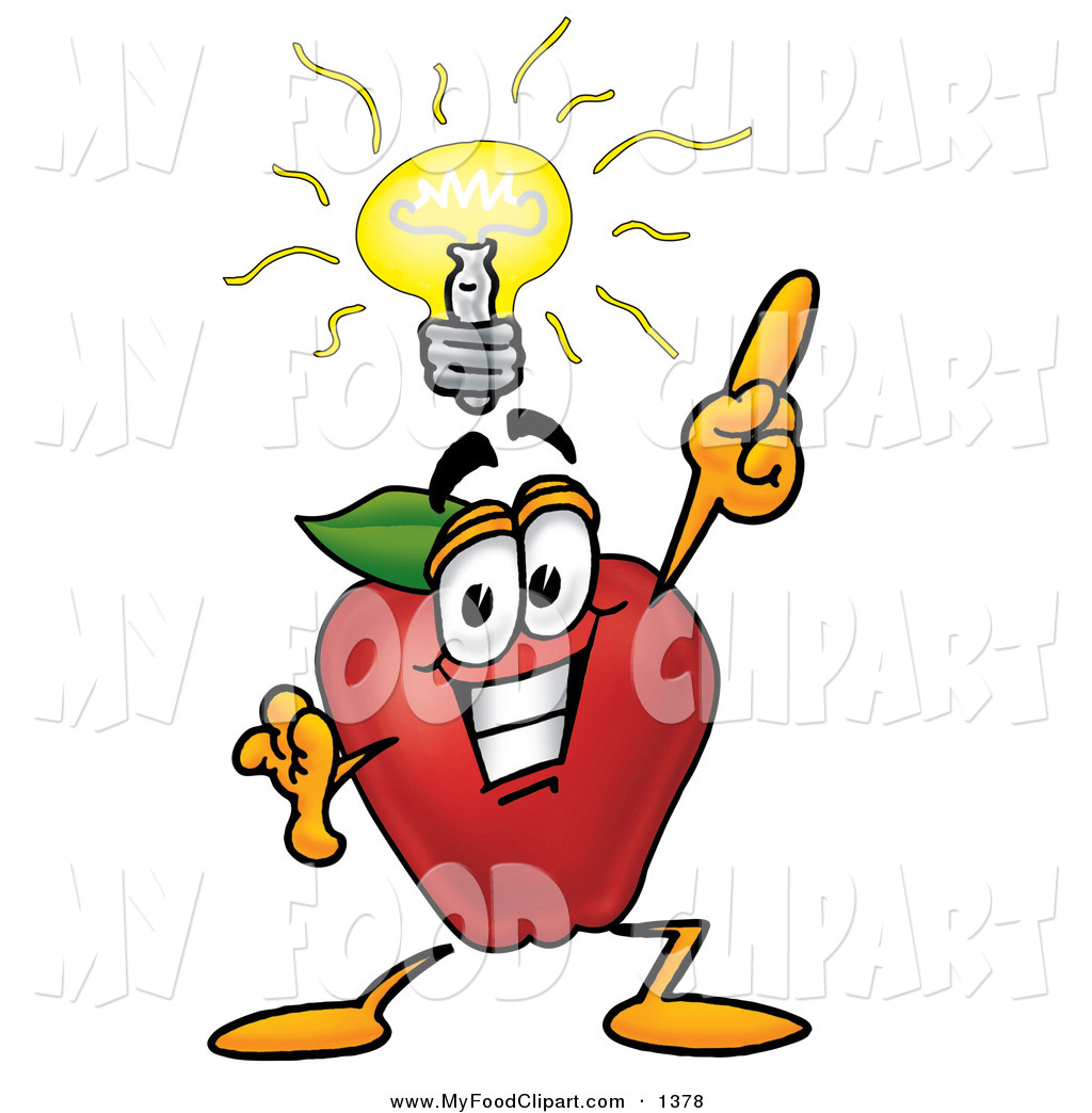 Food Clip Art of a Smart Nutritious Red Apple Character Mascot with.