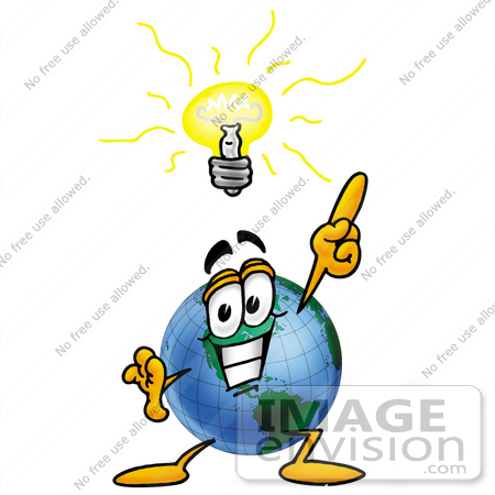 Clip Art Graphic of a World Globe Cartoon Character With a Bright.