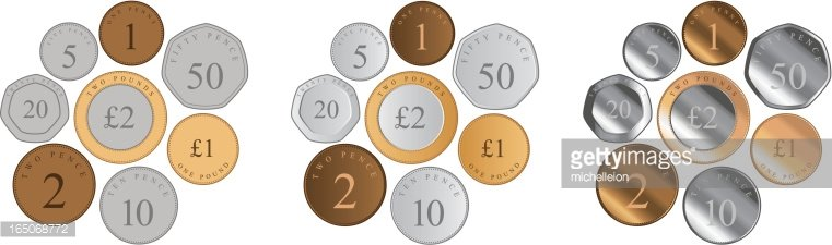 British Coins Clipart Image.