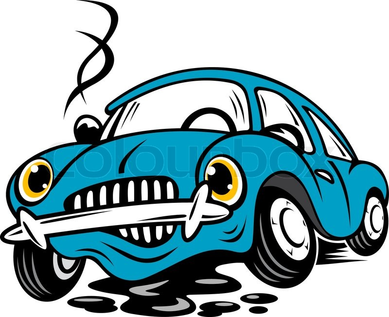 Clipart of the blue Broken Car free image.