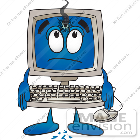 Clip Art Graphic of a Desktop Computer Cartoon Character With a Hole.