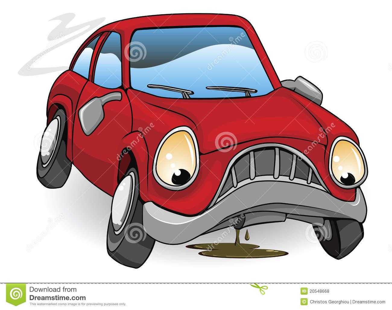 Sad Broken Down Cartoon Car Royalty Free Stock Photos.