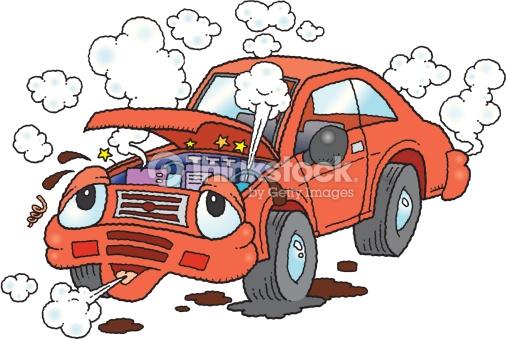 Broken Down Animated Automobile Color Vector Art.
