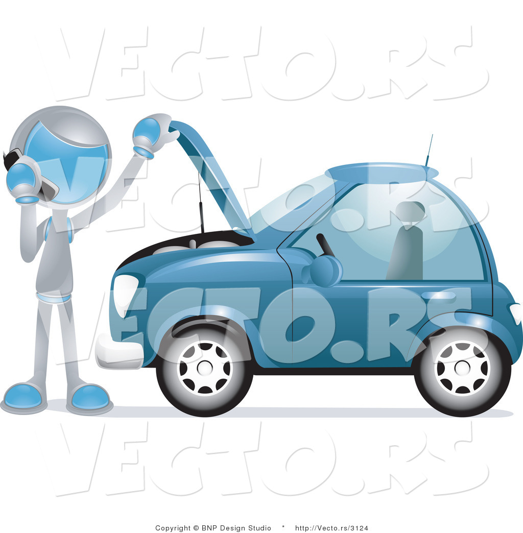 Vector of Futuristic Character Calling a Towing Company by a.
