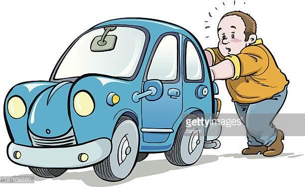 Cartoon Of An Old Broken Down Car Vector Art.