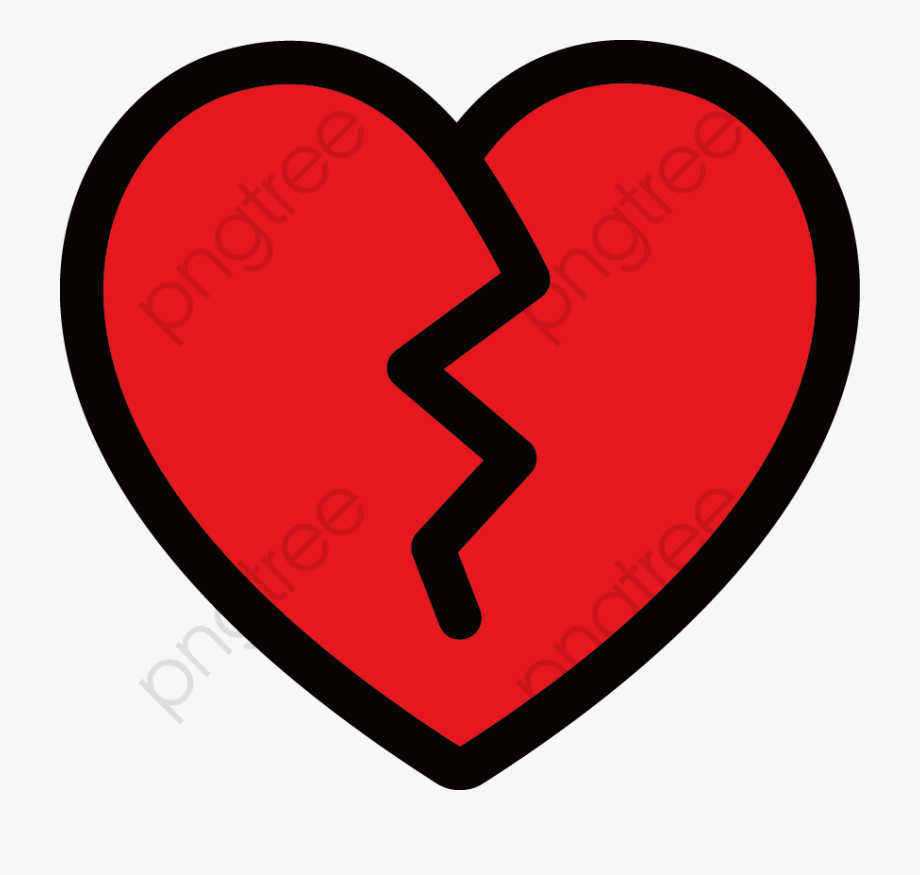 Broken Heart Clipart Vector.