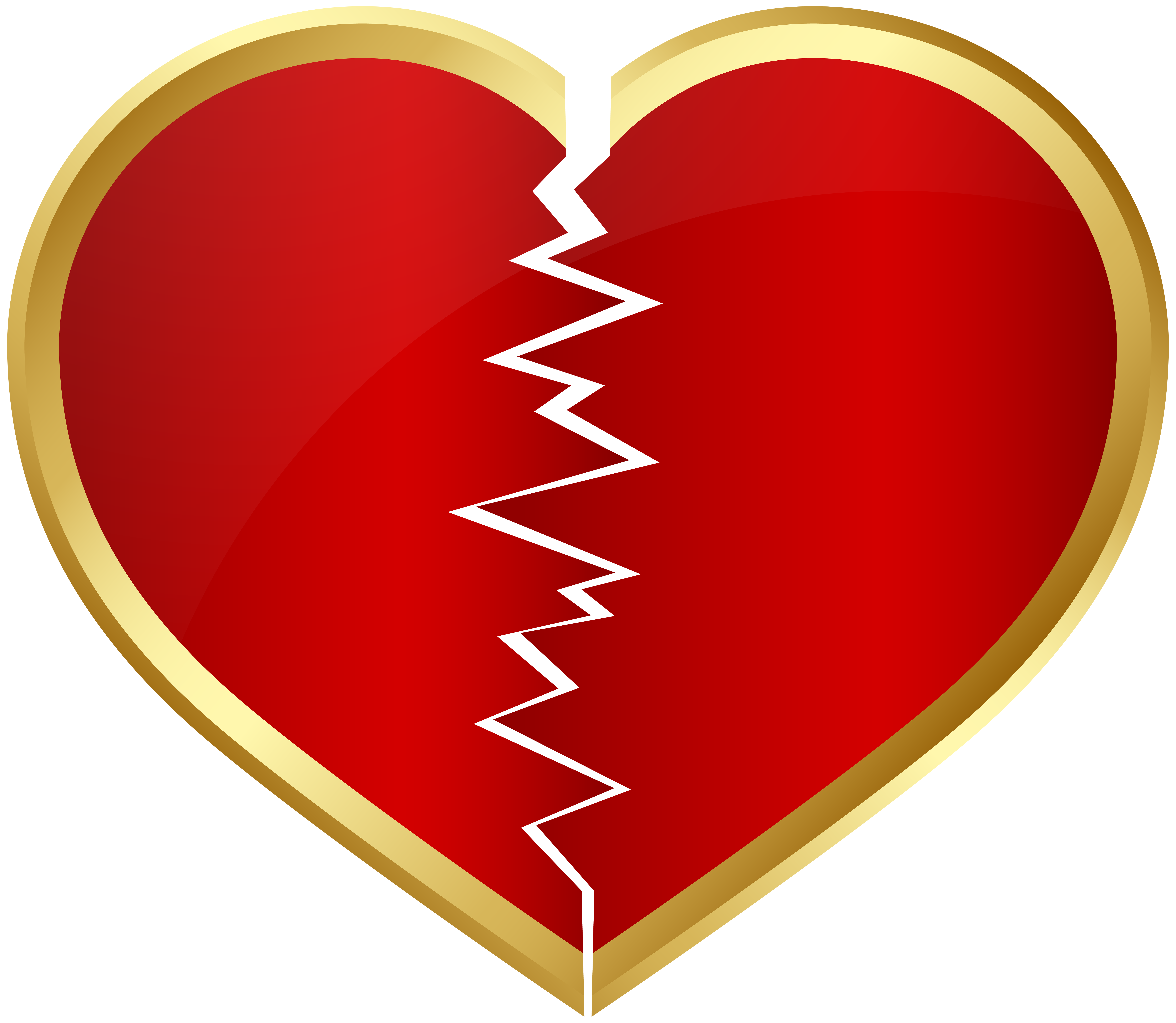 Broken Heart Transparent Clip Art Image.