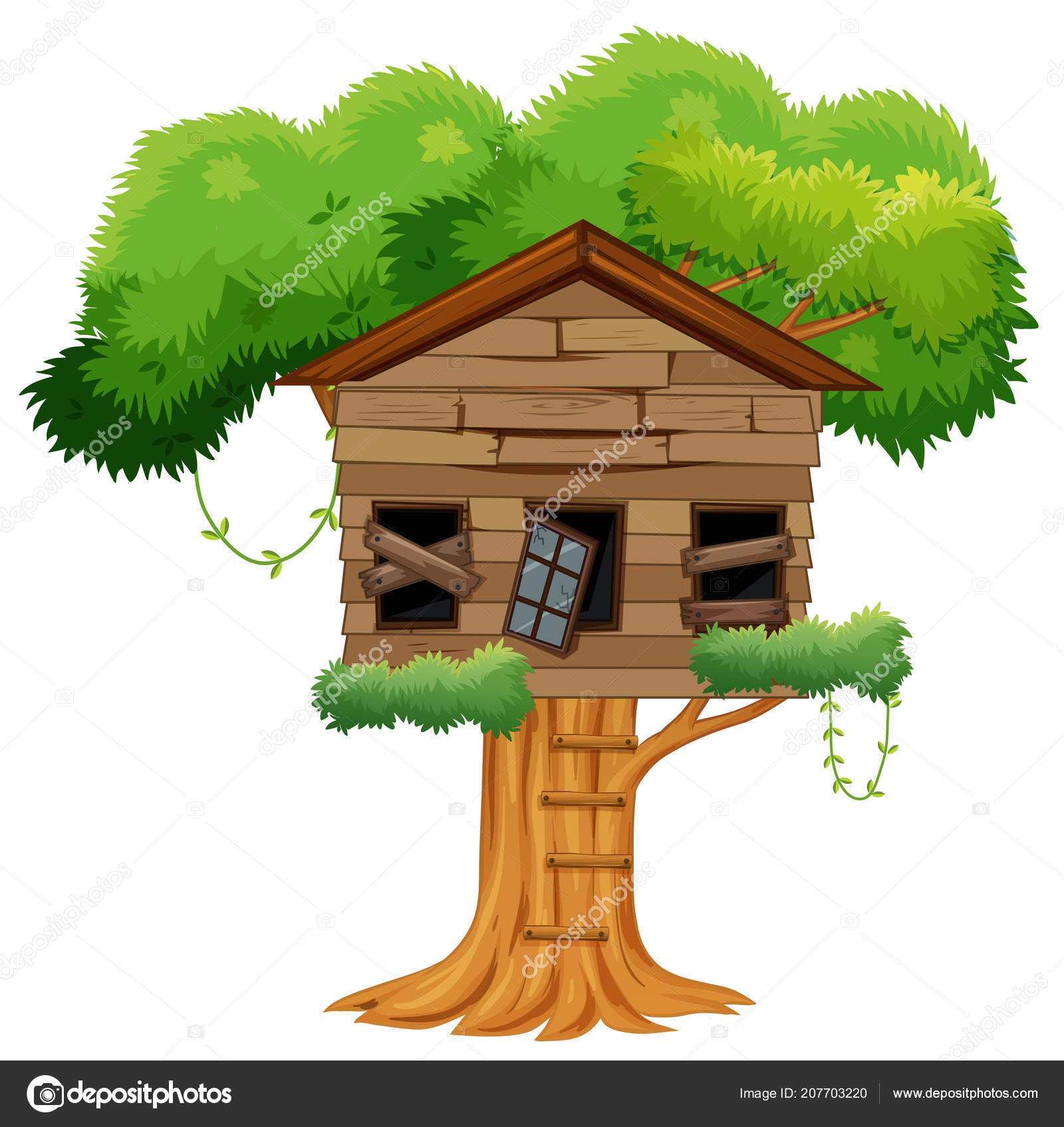 Clipart: broken tree house.