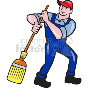 man sweeping broom frnt shape clipart. Royalty.