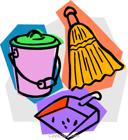 broom with dustpan and pail Royalty Free Vector Clip Art.