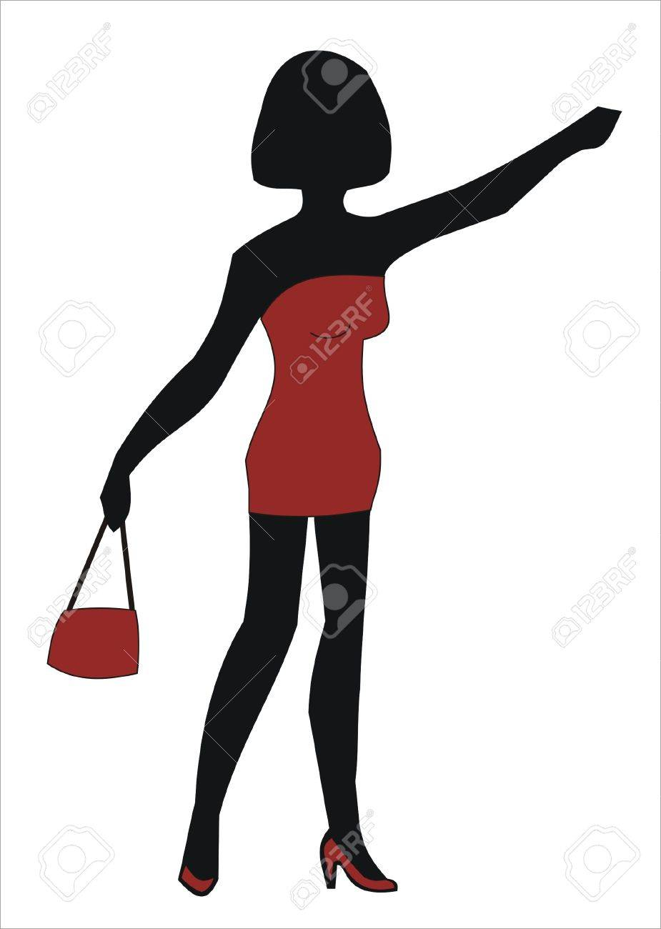 prostitute in a red dress with red bag.