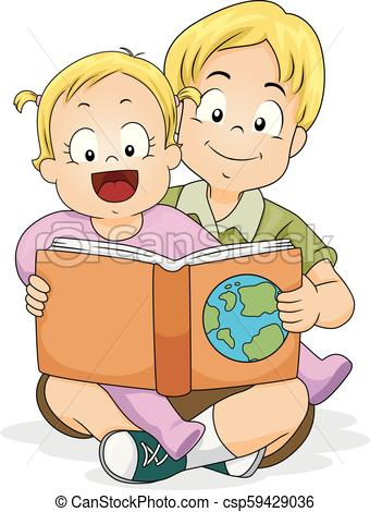 Baby Girl Read Brother Geography Book Illustration.