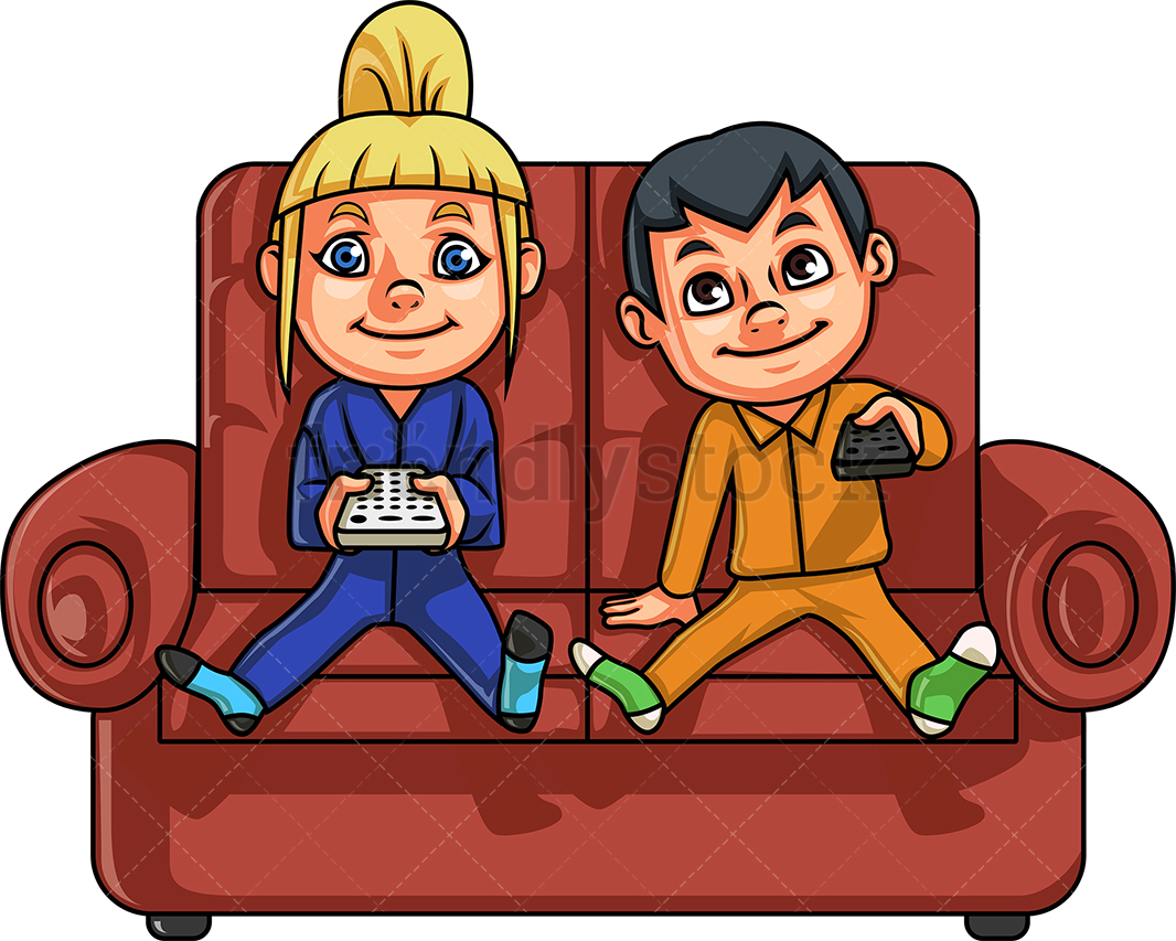 Tv Brother And Sister Watching Vector Cartoon Clipart Png.