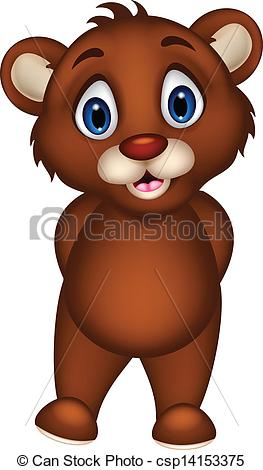 Vectors Illustration of cute baby brown bear cartoon posing.