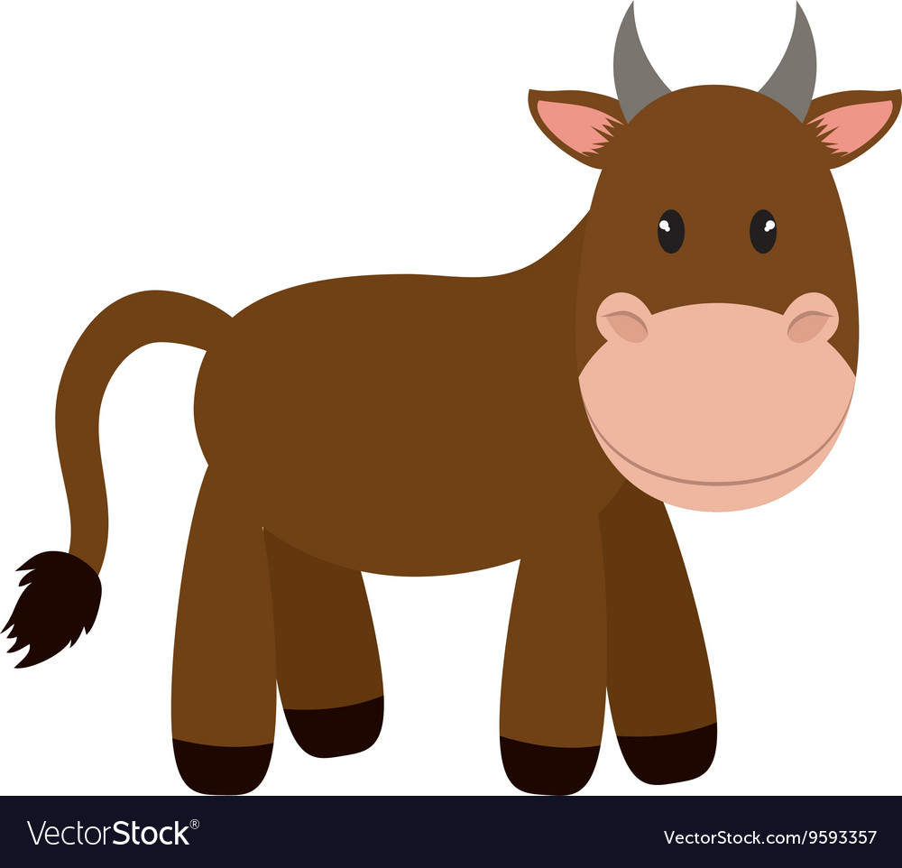 Brown cow icon cute animal design graphic.