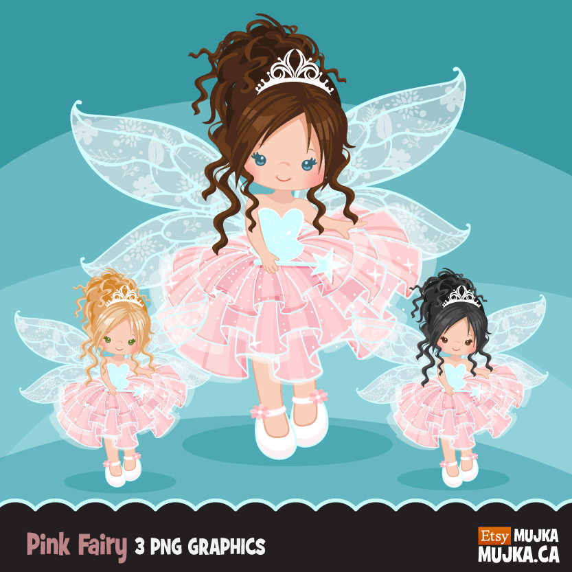 Pink Fairy Clipart, cute fairy graphics brunettes.