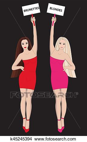 Blondes and Brunettes Clipart.