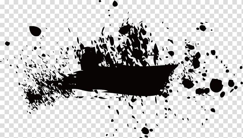 Black abstract painting, Ink brush Paintbrush, Brush pen.