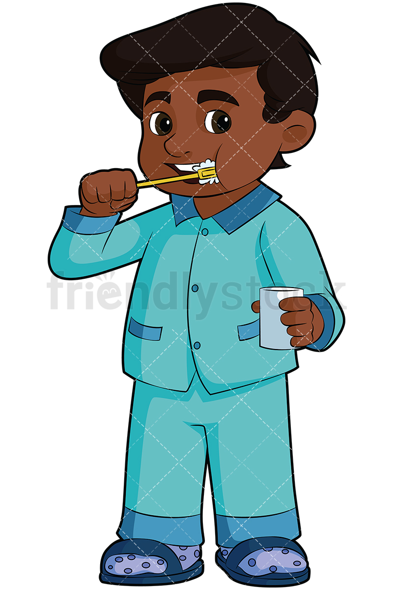 Black Boy Brushing His Teeth.