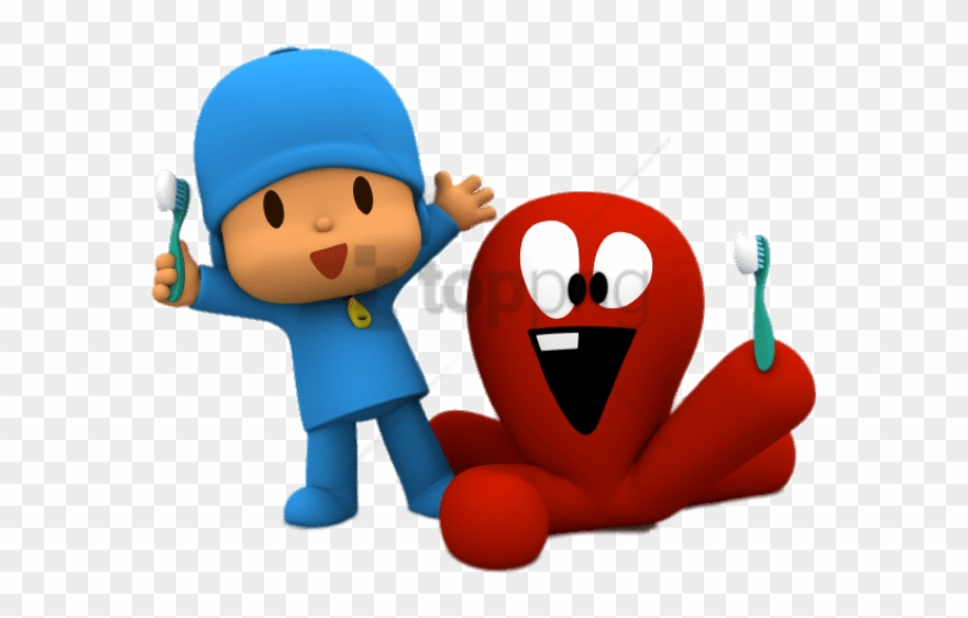 Free Png Download Pocoyo And Fred Brushing Teeth Clipart.