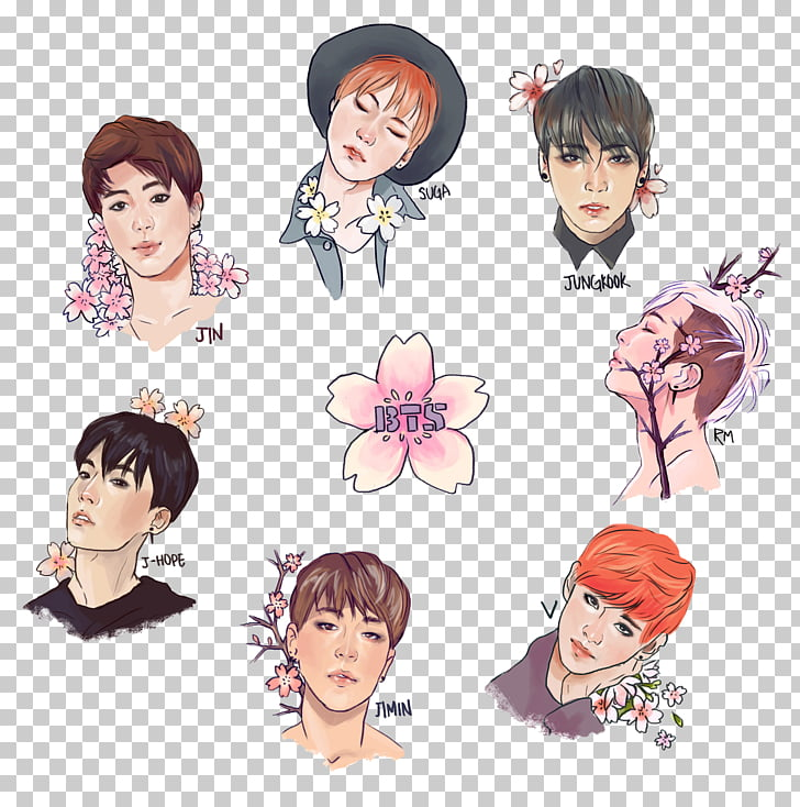 BTS Drawing Fan art, fan bingbing, BTS illustration PNG.