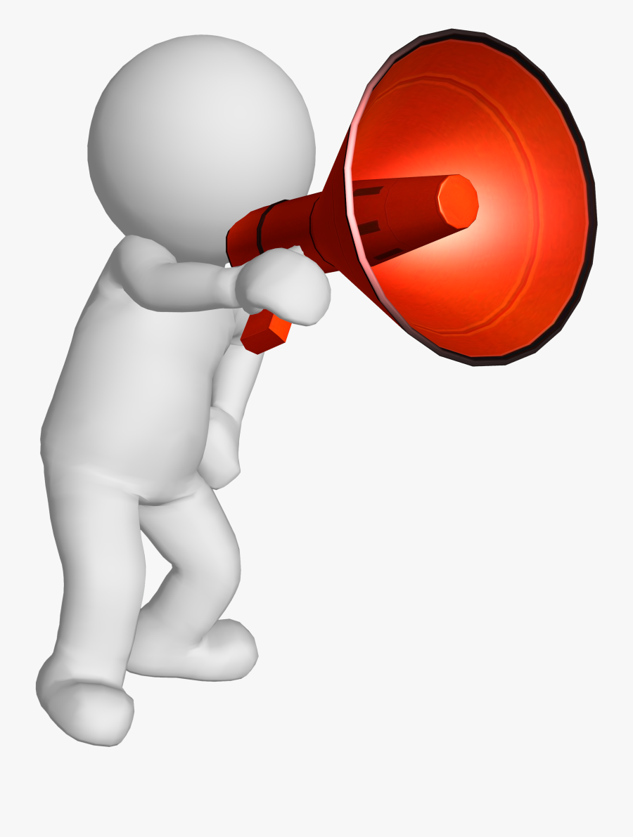 Clip Art Black And White Stock Man With Megaphone Clipart.