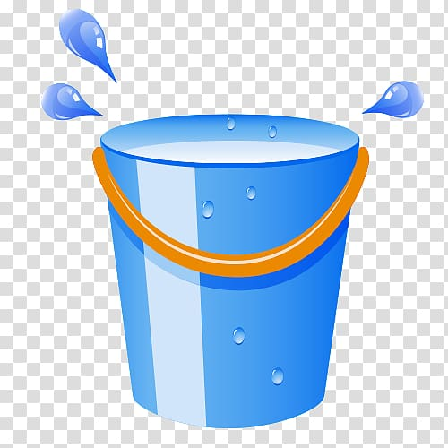 Bucket Barrel Cleaning, Blue water droplets transparent.
