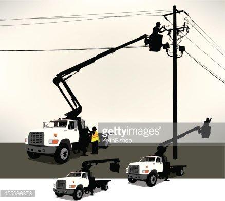 Bucket Truck, Electrician, Power Line Clipart Image.