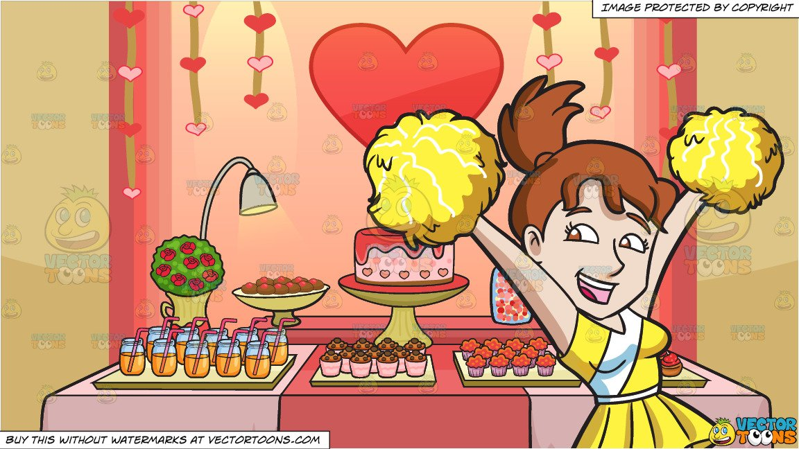A Cheerleader Jumping Into The Air and Valentines Day Buffet Background.