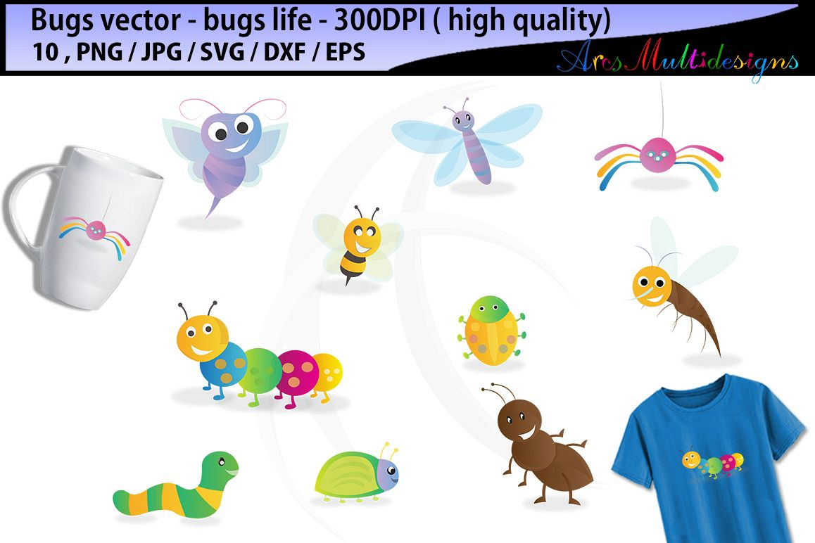 bugs SVG clipart / bugs / insects / insect clipart / cartoon bugs Baby  Shower Bugs Clip art / cute bugs / instant download digital clip art.