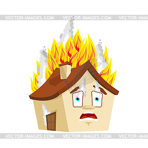 House Fire . burning Home Cartoon Style. Building.